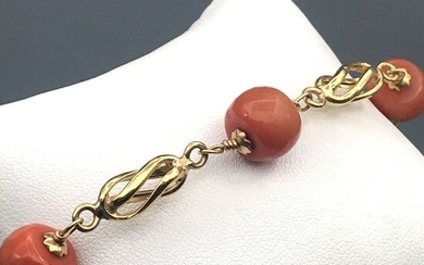 18 kt. Yellow gold - Bracelet Coral of the Mediterranean Sea