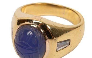 18K Gold Diamond and Chalcedony Scarab Ring Size 7