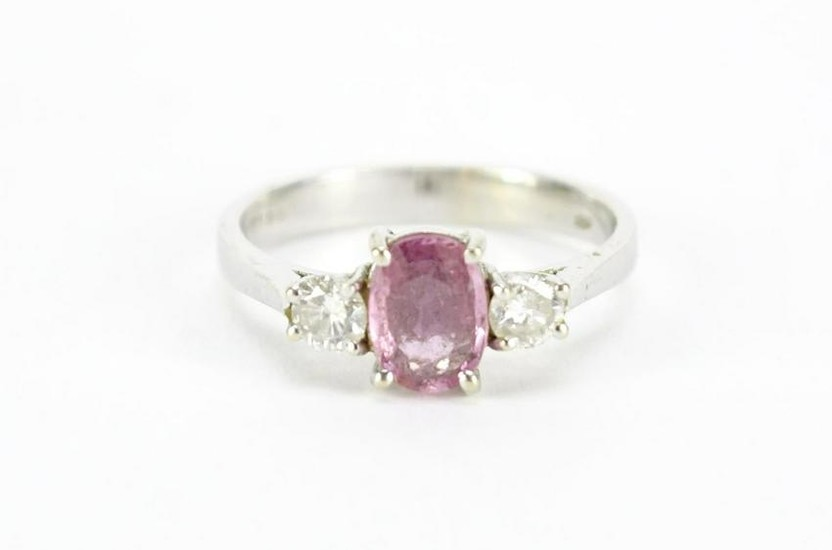 18ct white gold ruby and diamond ring, size N, 3.4g