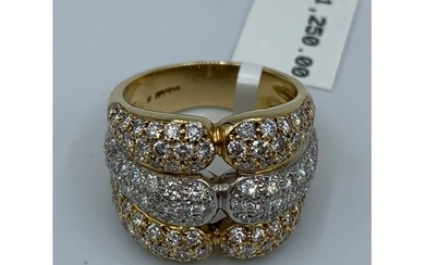 18ct yellow gold 3 row diamond band ring 15.2g approx 1.25ct...