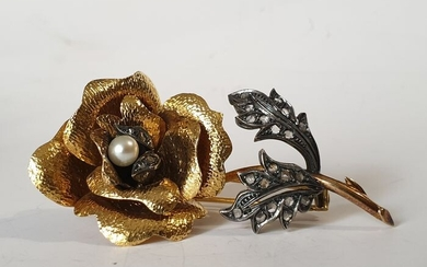 19,2 kt. Gold, Silver - Brooch Pearl - Diamonds