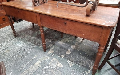 19th Century Long French Oak Work Table, with two frieze drawers & six turned legs