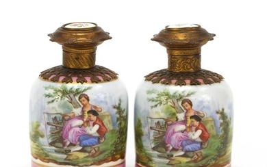 19th century French porcelain scent bottles with gilt metal ...