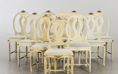 6 + 2 + 2 second half of the 20th century gustavian style chairs.