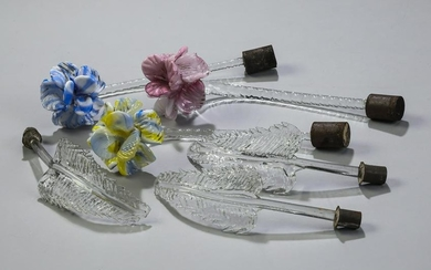 (6) Italian Murano hand-formed glass flowers & leaves