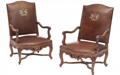 61063: A Pair of French Provincial Louis XV-Style Leath