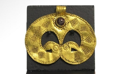 Migration Period Gold Pendant with Bird-Head, c. 6th -