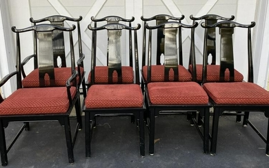 8 Chinoiserie Style Black Lacquer Dining Chairs