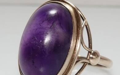 8 kt. Yellow gold - Ring, large size 66 / 21.0 mm - 15.30 ct Amethyst