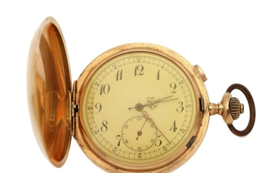 A 14k gold hunter cased pocket watch with quarter repetition and chronograph. C. 1900. Weight 125 g. Case diam. 56 mm.