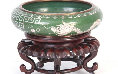 A CHINESE CLOISONNE BOWL ON STAND the green shallow bowl...