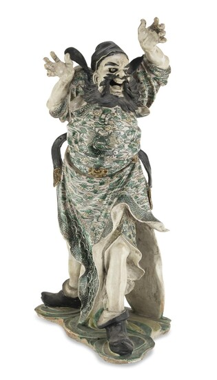 A CHINESE POLYCHROME ENAMELED CERAMIC SCULPTURE REPRESENTING A LOKAPALA LATE 18TH CENTURY