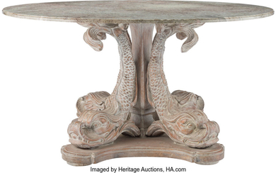 A Carved Washed-Finish Wood Dolphin Entry Table with Marble Top (20th century)