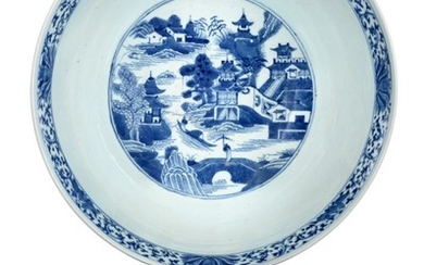 A Chinese Porcelain Punch Bowl, early 19th century, painted in...