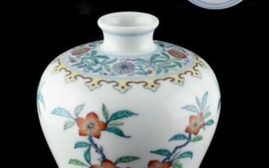 A Chinese doucai meiping, painted with flowers & lingzhi,...