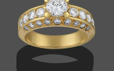 A Diamond Solitaire Ring, the round brilliant cut diamond in...