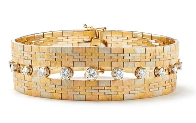A Diamond and Tri-Colored Gold Bracelet