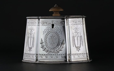 A Fine Victorian Tea Caddy, Holland, Son & Slater, London - Sterling Silver- 1881