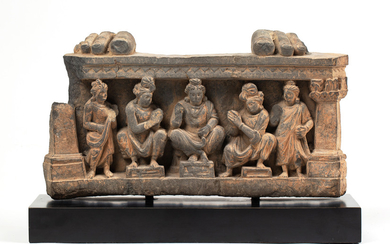 A GREY SCHIST CARVING OF BUDDHA AND DISCIPLES, GANDHARA, POSSIBLY 5TH CENTURY