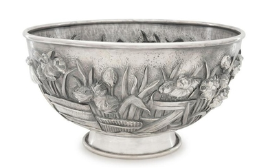 A Japanese Silver High-Relief Centerpiece Bowl