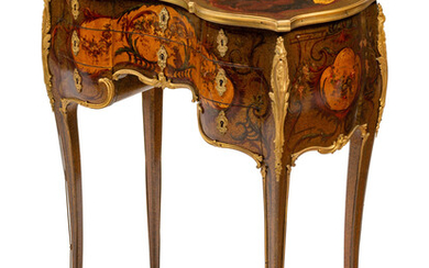 A Louis XV Style Gilt Bronze Mounted Vernis Martin Dressing Table