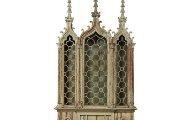 A NEO-GOTHIC STYLE WHITE-PAINTED CABINET ON STAND, INCORPORATING 19TH CENTURY ELEMENTS