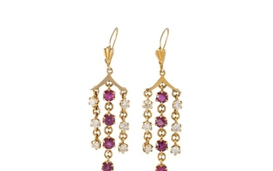 A PAIR OF DIAMOND AND RUBY DROP EARRINGS, chandlier design, ...