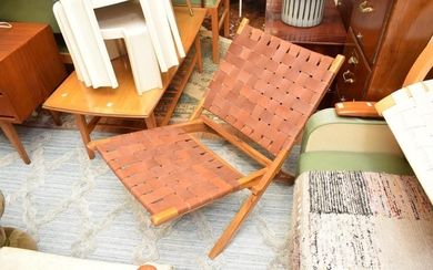A PAIR OF TEAK AND LEATHER WEAVE FOLDABLE CHAIRS