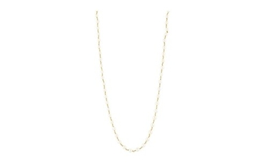 A PEARL NECKLACE, each cream toned pearl set between chain l...