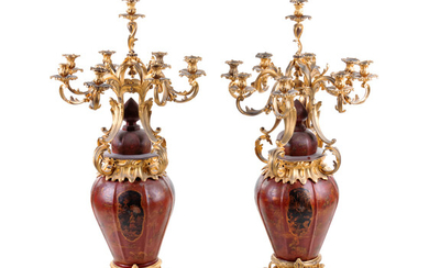 A Pair of Louis XV Style Gilt Bronze Mounted Tôle Nine-Light Candelabra