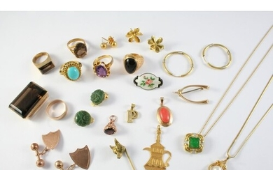 A QUANTITY OF JEWELLERY including a carved jade and diamond ...
