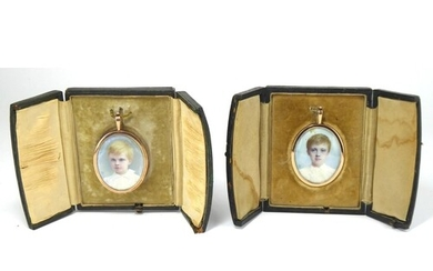 A RARE PAIR OF CASED 9CT GOLD AND IVORY OVAL MINIATURE PORTR...