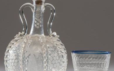 A Rare Stiegel-Type Etched Glass Jug and a Blue-Rimmed