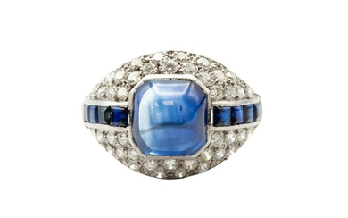 A SAPPHIRE AND DIAMOND DRESS RING Of bombé design