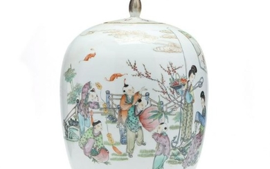 A Tall Chinese Porcelain Famille Rose Ginger Jar with