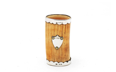 A Victorian silver-mounted ivory beaker