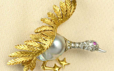 A mid 20th century baroque cultured pearl and diamond goose brooch, with ruby accent eye.