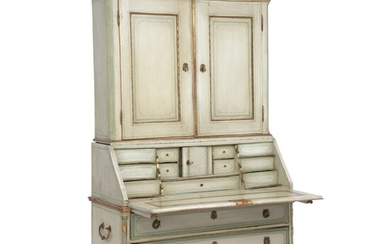 A painted and partially gilt Danish Louis XVI bureau. Upper part with two panelled doors....