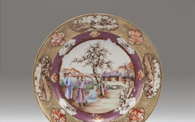 A pair of Chinese export porcelain famille rose-decorated plates...