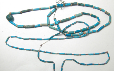A pair of Egyptian faience bead necklaces, Late Period