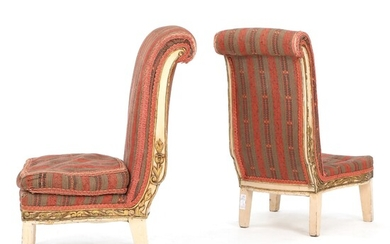 NOT SOLD. A pair of Italian Empire style giltwood and painted Prayer Chairs, so-called Prie...