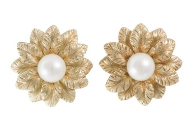 A pair of Tiffany & Co. cultured pearl flower ear clips