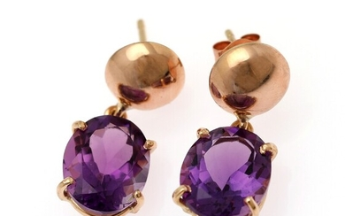 A pair of amethyst ear pendants each set with an oval-cut amethyst, mounted in 18k rose gold. Measurements 9×22 mm. (2)