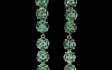 A pair of emerald ear pendants each set with numerous navette and circular-cut emeralds, mounted in rose gold plated sterling silver. L. 4.3 cm. (2)