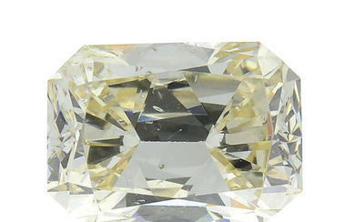 A rectangular shape 'light yellow' diamond, weighing 0.62ct, with GIA report.