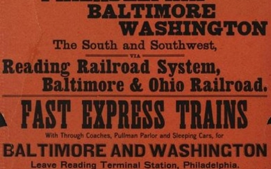 AN 1895 BROADSIDE FOR THE ROYAL BLUE LINE ON B&O LINE