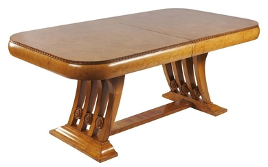 AN ART DECO BURR WALNUT DINING TABLE CIRCA 1930