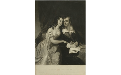 AN ENGRAVING OF BYRON AND MARIANNA SEGATTI FROM VENICE