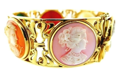 ANTIQUE 14k Yellow Gold & Gemstone Carved Cameo Bangle