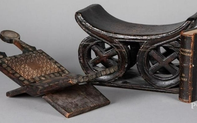 African carved wood seat, etc.